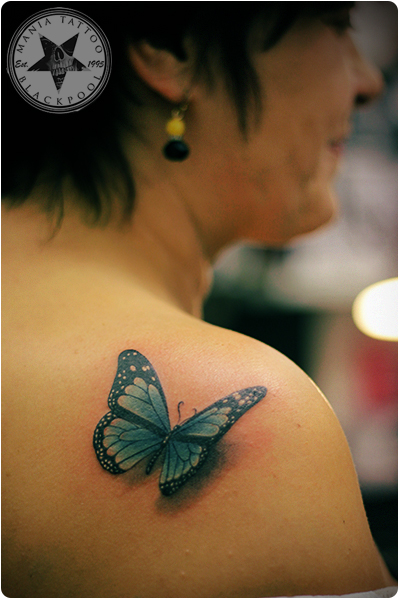 blue butterfly by mania tattoo blackpool